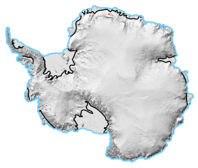 A Coastal Margin in Antarctica is any nautical or geographical coastline. Example Image