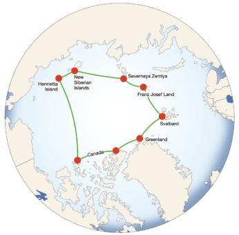 Circumnavigation of the Arctic Ocean Example Image