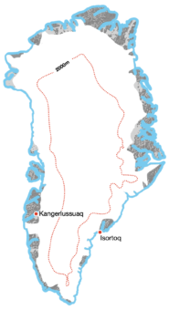 A Full Crossing of Greenland or its ice sheet: Example Image