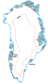 <p><strong>Crossing</strong> of <strong>Greenland</strong> or its ice sheet</p> Example Image